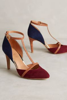 Shop unique high heels from Anthropologie for your essential pumps, kitten heels and more. Pretty Shoes, Beautiful Shoes, Cute Shoes, Me Too Shoes, T Strap Pumps, Shoe Boots, Shoes Heels, Navy Heels, Suede Heels