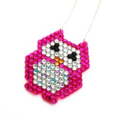 Sparkly Owl Necklace  Crystal Encrusted  Cute by VelvetVolcano, £10.95