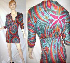 T BAGS 100% Rayon Sheer Stretch Draped Dolman Logo Art Deco Geo Print Dress S