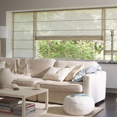 Choosing a beige color as the main decoration for interior, you should be concerned about the differences in shades and colors. Cool Curtains, Curtains With Blinds, Picture Window Treatments, Modern Window Design, Rustic Staircase, Snug Room, Classic Living Room, Roman Blinds, Window Coverings
