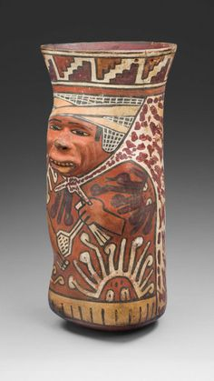 Nazca South coast, Peru, Beaker Molded in the Form of a Warrior Holding a Sling, 180 B.C. - A.D. 500