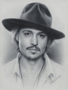 "Johnny Depp portrait by Drawing-Portraits.deviantart.com Igor Kazarin (uses a ""dry brush"" technique)"