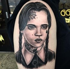 Wednesday Addams done by Robbie Pina @ Broken Dagger in Las Vegas NV Japanese tattoo sleeve btctrader1.weebly.com