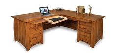 Amish Boulder Creek L Desk The finest in office furniture. An L Desk offers plenty of room to work. Boulder Creek has custom options you can add like a pop up power station or leather writing pad. There are writing pullouts also. Built in choice of wood and stain.