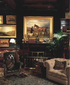 LIVING ROOM & FAMILY ROOM – warm and cozy equestrian inspired room