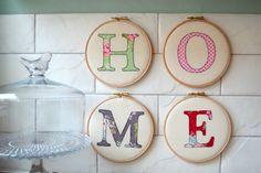 Home letter embroidery hoop art por rachelandgeorge en Etsy, £35.00