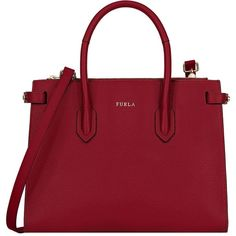 Furla Handbag ($450) ❤ liked on Polyvore featuring bags, handbags, shoulder bags, garnet, genuine leather shoulder bag, leather purses, studded leather purse, red purse and doctor bag