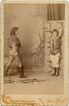 ca. 1880's, [cabinet card portrait of Sig Arcaris and sister Kate, performing their knife throwing act], Charles Eisenmann