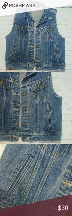 Vintage Ms. Lee Denim Trucker Vest No holes, stains, etc. Size 11/12- Fits like a women's medium. Baggy on a small frame. Lee Jackets & Coats Vests
