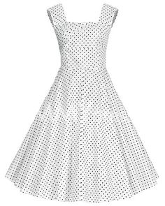 »Retro Style Sleeveless Square Neck Polka Dot #Dress« #polkadots #vintage #retro #sammydress