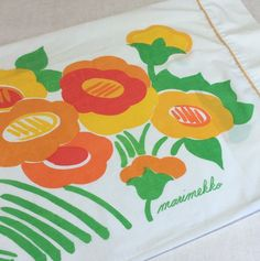marimekko by dan river king percale pillowcase orange red gold yellow flowers floral