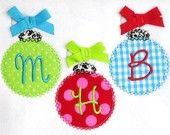 Christmas Ornament Trio Applique Machine Embroidery Design