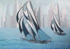 Obraz marynistyczny 50x70cm na podobraziu, olej na płótnie by Sylwia Michalska