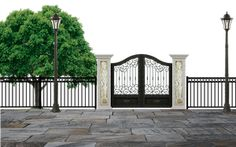 Security gates should have some features to make it more secure and safe. A security fence before the gate is a perfect option to guard your home against intruder access and serves as an excellent deterrent to crime. Metal Gates, Wrought Iron Gates, Aluminum Driveway Gates, Gates Driveway, Gate Operators, Security Gates, Episode Backgrounds, Door Images, Automatic Gate