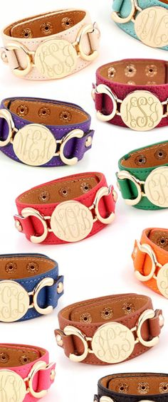 Monogrammed Leather Cuff Bracelet - from Marleylilly.com #preppy #monogram #love #ootd