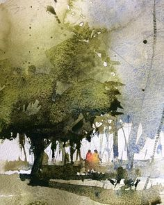 Landscape painting featuring soft, wet in wet watercolor edges Watercolor Landscape Paintings, Watercolor Pictures, Watercolor Trees, Watercolor Sketch, Watercolor Artists, Watercolor Techniques, Abstract Watercolor, Watercolor Illustration, Watercolour Painting