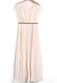 Apricot V Neck Embroidered Bead Pleated Dress - Sheinside.com