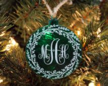 Christmas Ornament, Personalized Ornament, Custom Christmas Ornament, Acrylic Ornament, Green Ornament, Custom Acrylic Ornaments, Monogram