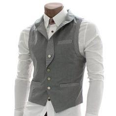 Doublju Mens Check Patched Vest Waistcoats