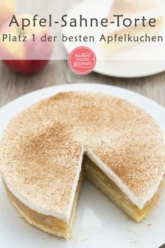 This apple cream cake is one of the very best apple pies ever: on the only slightly sweet short pastry […] Mini Desserts, Pudding Desserts, Pudding Cake, Apple Desserts, Apple Cakes, Apple Recipes Easy, Mint Recipes, Baking Recipes, Short Pastry