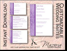 DIY Wedding Invite set TEMPLATE Instant Download printable (purple lace 5X7 with 3 cards)