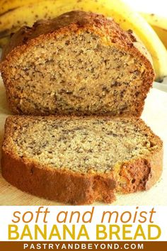 Simple Banana Bread Recipe-You'll love this deliciously moist and soft simple banana bread recipe that takes only 10 minutes to prepare! # Easy Recipes snacks Simple Banana Bread Recipe - Pastry & Beyond Easy Bread Recipes, Fun Easy Recipes, Banana Bread Recipes, Easy Meals, Cooking Recipes, Simple Banana Cookie Recipe, Banana Bread Recipe Pillsbury, Carrot Bread Recipe Moist, Recipes