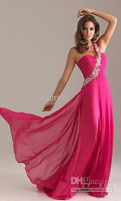Hot Pink One Shoulder Chiffon A-Line Formal Gowns Wedding Bridesmaid Dresses on eBay!