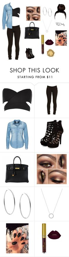 """""""I love the color black it just goes with everything"""" by sydneyharrell ❤ liked on Polyvore featuring River Island, Vero Moda, Hermès and Michael Kors"""
