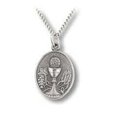 A beautiful and inexpensive First Communion pewter medal to remember their special day.