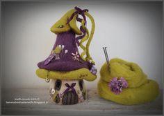 Maisonnette pique-aiguilles en laine feutrée nuance violette : Accessoires de maison par les-vendredis-de-nath