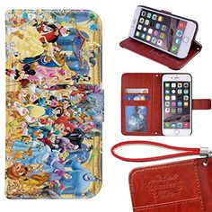 iPhone 6 Plus Wallet Case[5.5 inch], Onelee - Disney all characters Premium PU Leather Case Wallet Flip Stand Case Cover for iPhone 6 Plus with Card Slots -- Check out this great product.