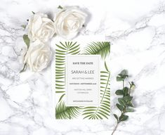 Beautifully designed botanical style Wedding Save the Date with a contemporary layout and stylish fonts.