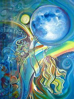 Shoot The Moon by Colleen Wilcox Night Painting, Canvas Artwork, Rainbow Art, Hawaiian Art, Spiritual Art, Painting, Illustration Art, Space Art, Sacred Art