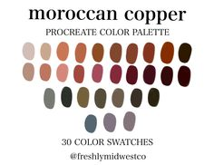 Excited to share this item from my shop: Moroccan Copper Procreate Color Palette - iPad Procreate Color Swatches - Hand-Picked Color Swatch Colour Pallete, Colour Schemes, Color Combos, Color Palettes, Copper Colour Palette, Color Pairing, Design Seeds, Mirror Decal, Architecture Design