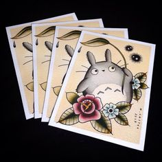 Totoro Tattoo Flash Print by Michelle Coffee. Available for purchase at www.michellecoffee.com