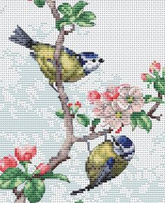 The Natural World Blue Tits & Blossoms Counted Cross 16 Count Small Cross Stitch, Butterfly Cross Stitch, Cross Stitch Bird, Cross Stitch Animals, Counted Cross Stitch Kits, Cross Stitch Flowers, Cross Stitch Charts, Cross Stitch Designs, Cross Stitch Patterns