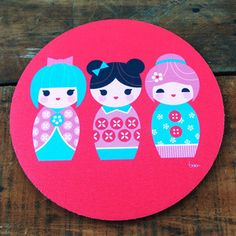 Kokeshi Dolls Mouse Pad now featured on Fab.