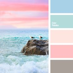 2 Color Palette The most romantic combination of translucent turquoise, sparkling aquamarine and creamy pink hue, which accompanies the birth of a new day. This palette is. Colour Pallette, Colour Schemes, Color Combos, Beach Color Schemes, Ocean Color Palette, Beach Color Palettes, Pastel Colour Palette, Paint Schemes, Rainbow Palette