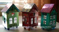 Holiday tea light votives by MJ Chadbourne/Desert Dream Studios