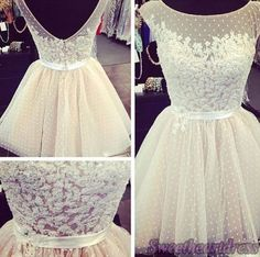 Prom dress 2015, strapless open back lace chiffon prom dress for teens, bridesmaid dress, homecoming dress #promdress -> http://sweetheartdress.storenvy.com/products/13675761-white-round-neck-sleeveless-sash-tulle-mini-bridesmaid-dress-gown