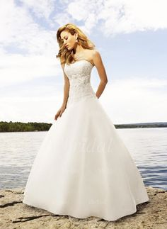 Wedding Dresses - $221.78 - Ball-Gown Strapless Sweetheart Cathedral Train Satin Wedding Dress With Lace Beading (00205000182)