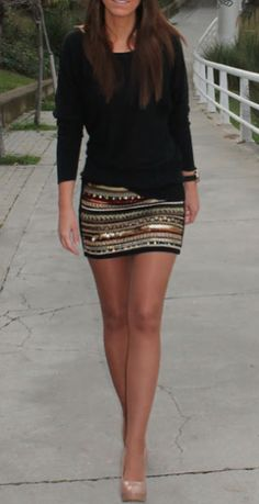 sequined skirt with basics