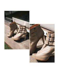 Beige Ankle Bootie Open Toe Heels Custom Made Hand Made Leather Made To Order