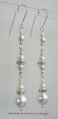Beautiful...stylish & elegant ♥ .925 Sterling Silver WHITE Glass Pearl & CLEAR Crystal Rondelle Bridal Long Drop Earrings + Gift Box & Organza Gift Bag ~ by Christine & Francesca Designs ---- #handmade #handcrafted #bridal #bridesmaid #wedding #glass #pearls #silver #crystal #earring #dangle #brides #white