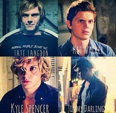 evan peters, ahs, and american horror story - tate langdon, kit walker, kyle spencer, jimmy darling