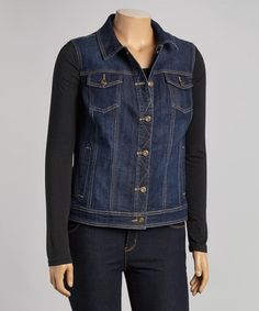 Love this Dark Blue Button-Up Denim Vest - Plus by BACCINI on #zulily! #zulilyfinds