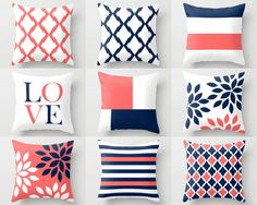 Throw Pillow Covers Navy Coral White Navy Blue Pillow Typography Art Contemporary Decor Throw Pillow Covers from HLBhomedesigns on Etsy. Accent Pillows, Bed Pillows, Cushions, Cushion Covers, Throw Pillow Covers, Navy Blue Pillows, Pillow Cover Design, Contemporary Decor, Cozy House