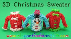 Rainbow Loom Christmas Sweater 3D Charm.Holiday.Ornament How to Loom Bands Tutorial