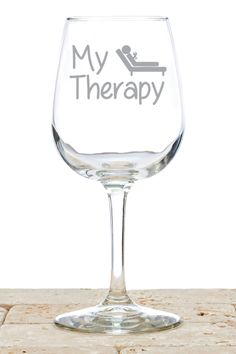 "AVAILABLE TODAY: The ""My Therapy"" Wine Glass is a one of kind gift item that is perfect for the wine lover in your life. These funny wine glasses are great for red and white wine alike. Fun gifts for a birthday, Christmas, Mother's Day, or White Elephant party. Ideal gifts for women who love wine! Sometimes Mom just wants to kick back, have a glass of wine, and enjoy her 'therapy'."