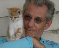 Sir Ian McKellan with a kitten